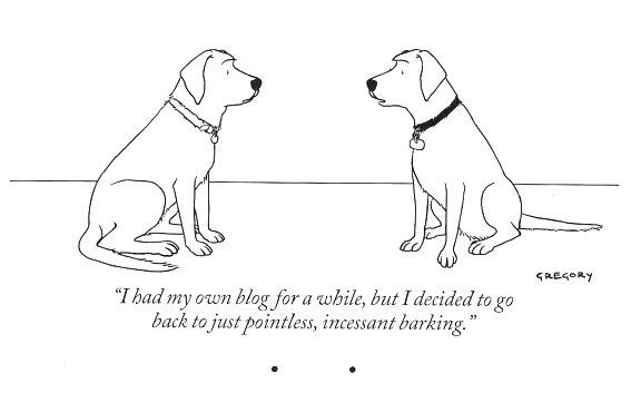 New Yorker dog cartoon barking blog