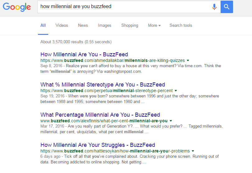 Looks like Buzzfeed has done a few of these quizzes...