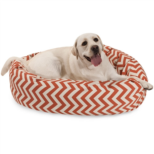 chevron bolster dog bed